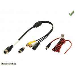 CABLE ADAPTATEUR CAMERA 4VOIES MALE GX16 /RCA MALE + ALIMENTATION